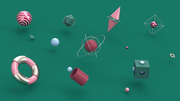 Formas geométricas coloridas. fundo verde. ilustração abstrata, renderização 3d.