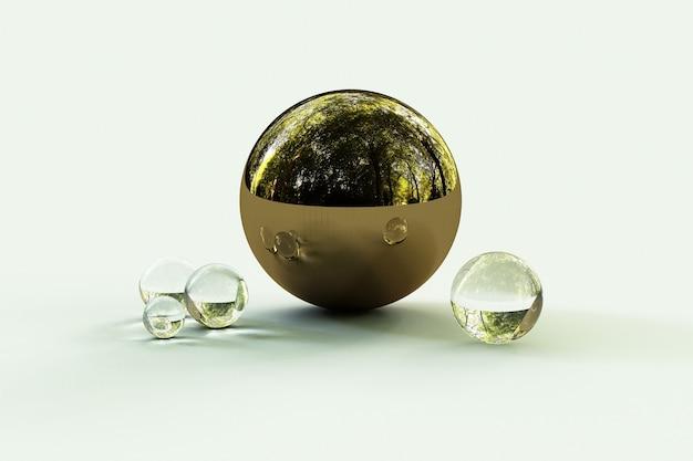 Formas geométricas com ambiente florestal refletido na esfera. renderização 3d