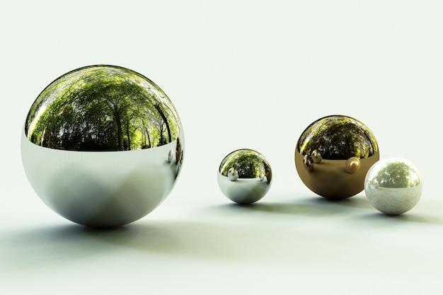 Formas geométricas com ambiente florestal refletido na esfera.
