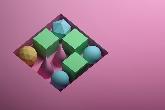 Formas geométricas dentro da cavidade quadrada oca