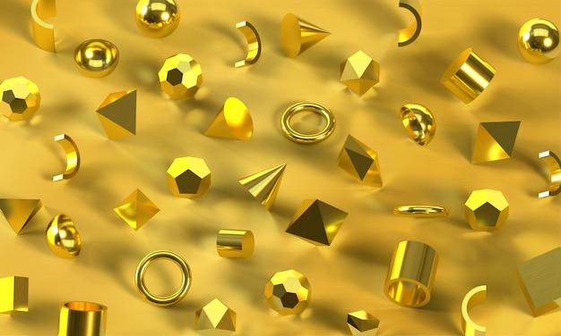 Formas geométricas douradas sobre fundo dourado. esferas, quadrados e triângulos