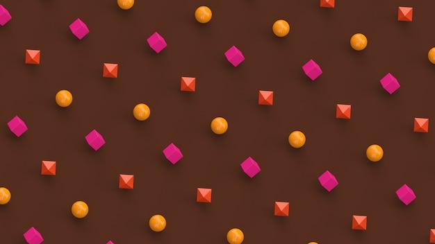 Formas geométricas em rosa, amarelo e laranja. fundo marrom. ilustração abstrata, renderização 3d.