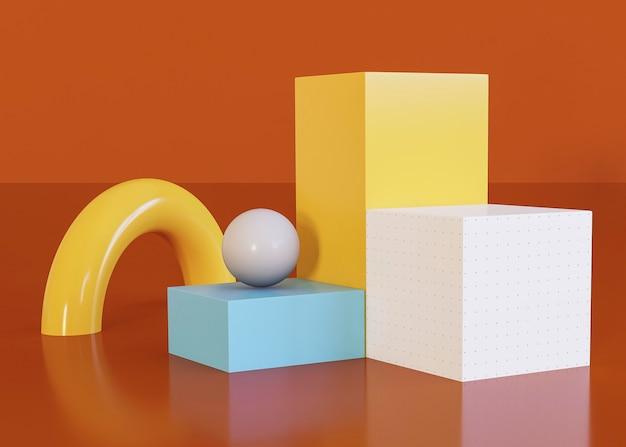 Formas geométricas em vários cubos