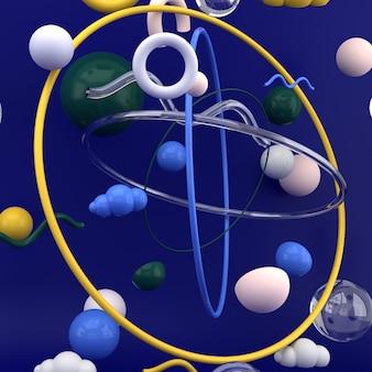 Formas geométricas na superfície azul