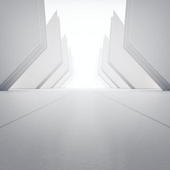 Formas geométricas no chão de concreto vazio.