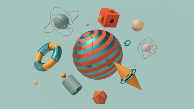 Formas geométricas verdes e laranja. esfera listrada grande. ilustração abstrata, renderização 3d.