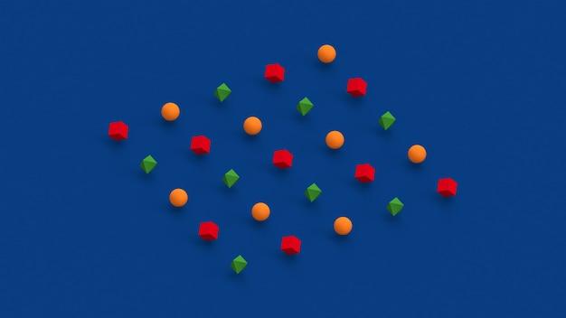 Formas geométricas verdes, vermelhas e laranja. fundo azul. ilustração abstrata, renderização 3d.