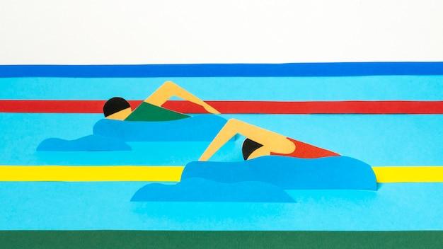 Formas olímpicas em estilo de papel de vista frontal