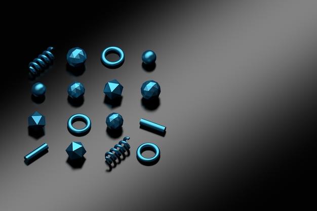 Formas primitivas de poligonal com a textura azul metálica que coloca na superfície reflexiva preta escura.