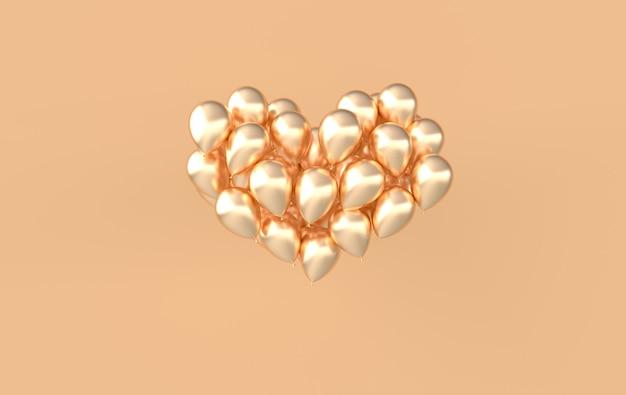 Formato de coração de balões brilhantes dourados e brilhantes em rosa pastel.