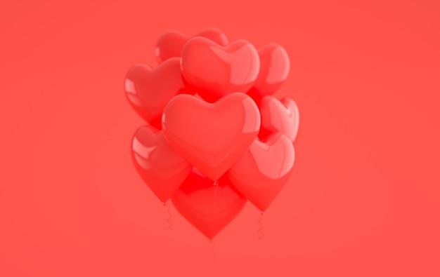 Formato de coração de balões vermelhos brilhantes e brilhantes