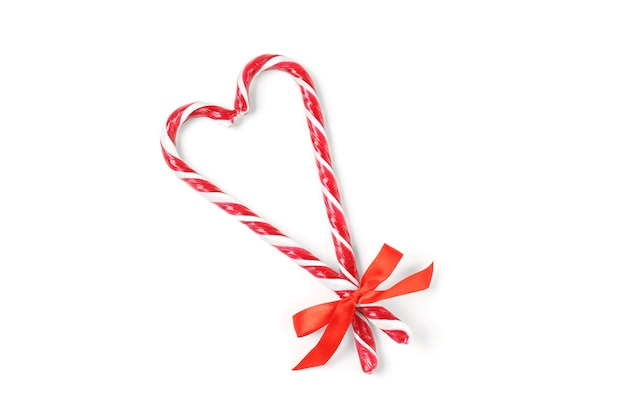 Formato de coração feito de fundo de bastões de doces