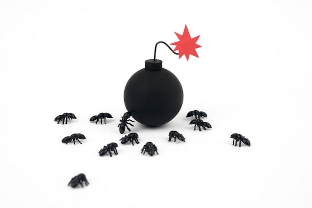 Formigas com bomba no fundo branco