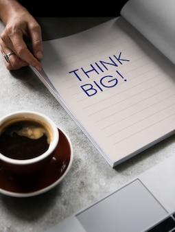 Formulação pense grande em um livro