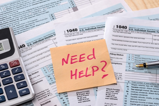 Formulário de cálculo de dinheiro 1040 declaração de imposto