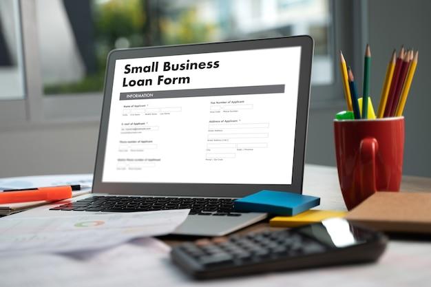 Formulário de empréstimo para pequenas empresas.