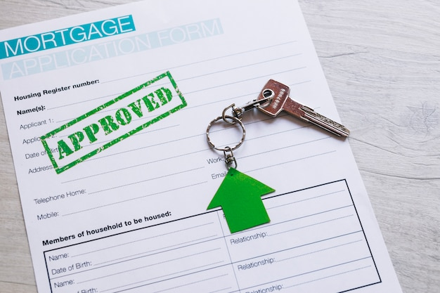 Formulário de inscrição preenchido para hipoteca