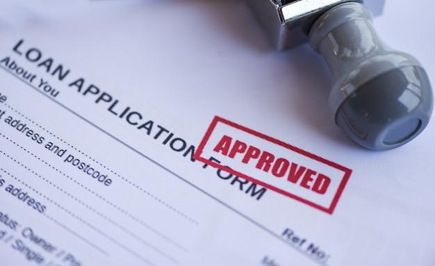 Formulário de pedido de empréstimo financeiro para credor e devedor