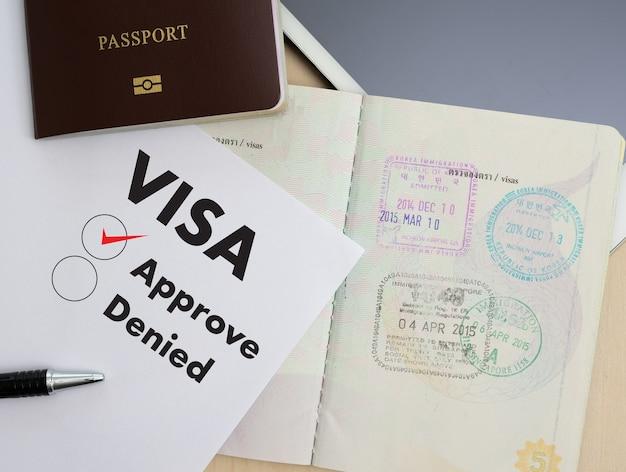 Formulário de pedido de visto para viajar imigração de um documento dinheiro para mapa de passaporte e plano de viagem
