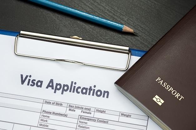 Formulário de pedido de visto para viajar imigração