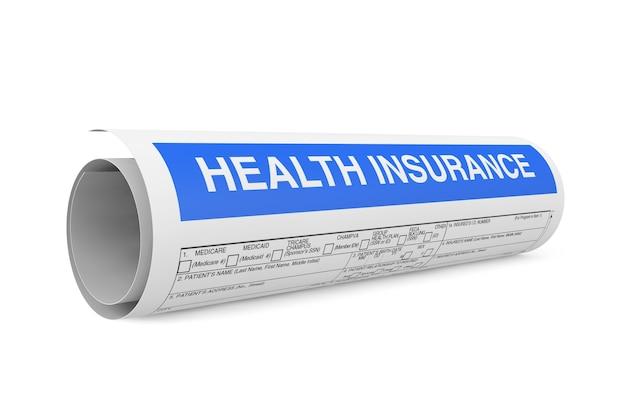 Formulário de seguro saúde enrolado em rolo em um fundo branco. renderização 3d