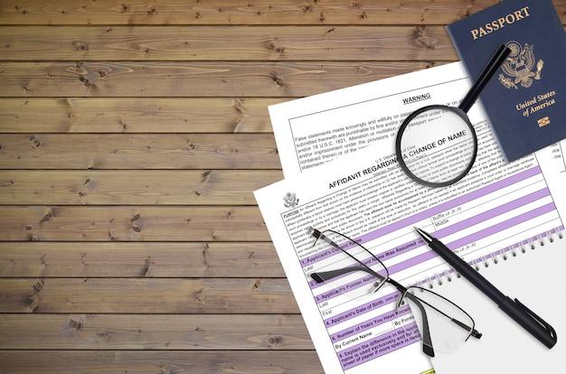 Formulário do departamento de estado ds60 affidavit sobre uma mudança de nome