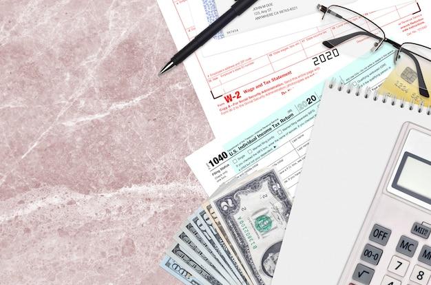 Formulário irs 1040 declaração de imposto de renda individual e declaração de salário e imposto w-2