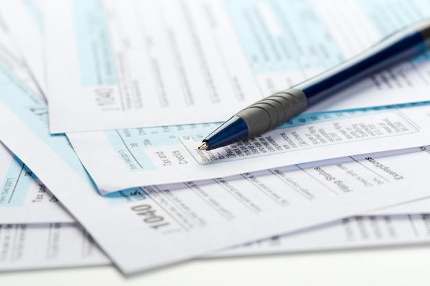Formulários de imposto, close-up