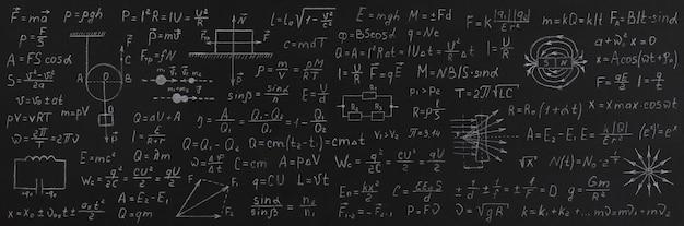 Fórmulas da física no quadro negro da escola. de volta ao conceito de escola.