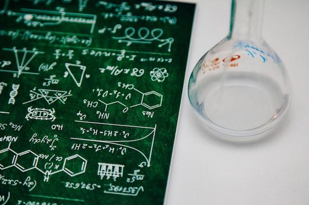 Fórmulas químicas em um caderno verde e um balão vazio