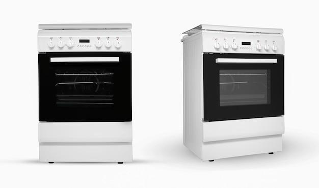 Forno de cozinha doméstico moderno em duas disposições de revisão em um fundo branco eletrodomésticos