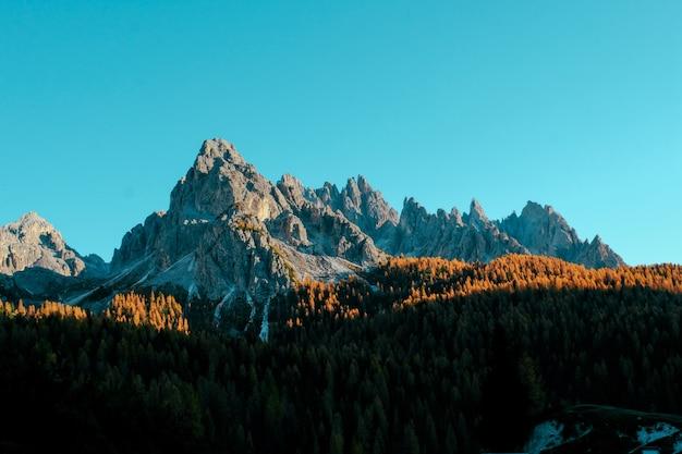 Foto aérea de árvores verdes em colinas e montanhas ao longe, com céu azul
