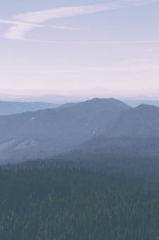 Foto aérea de belas colinas e árvores