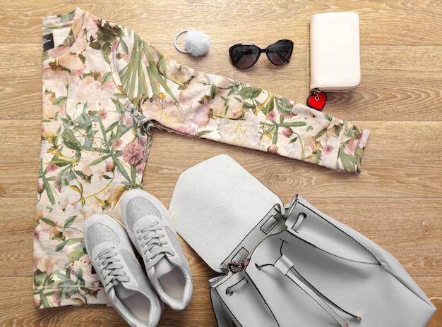 Foto aérea de roupas casuais femininas