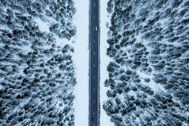 Foto aérea de uma estrada em uma floresta coberta pela neve durante o inverno