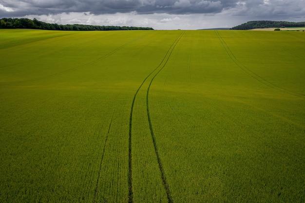 Foto aérea de uma pastagem durante um tempo nublado