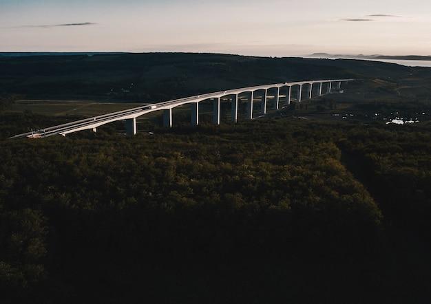 Foto aérea de uma ponte em arco de aço construída em uma floresta