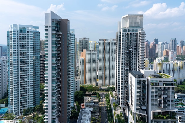 Foto aérea incrível da paisagem urbana de cingapura com muitos arranha-céus