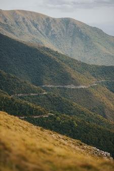 Foto aérea vertical de uma estrada perigosa na montanha através de uma floresta de vlasic, na bósnia