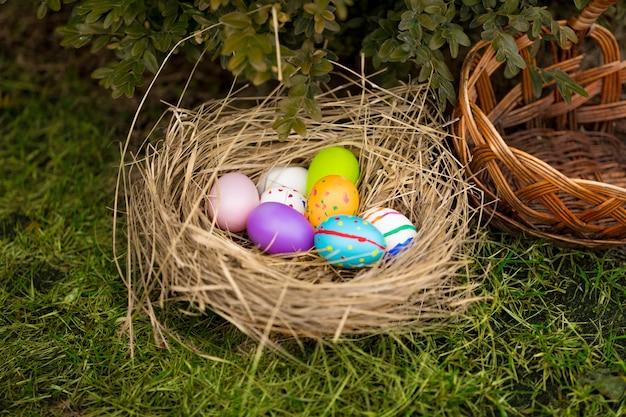 Foto aproximada de ovos de páscoa coloridos em uma cesta no quintal