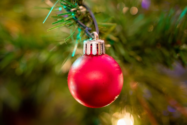 Foto aproximada de um enfeite de bola vermelha em uma árvore de natal