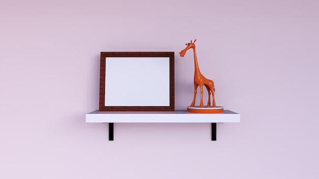 Foto com moldura em branco de renderização 3d com decoração de parede brinquedo girafa
