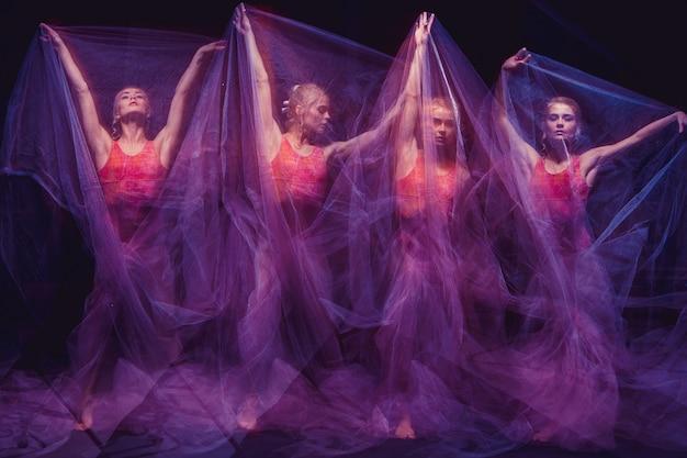 Foto como arte - uma dança sensual e emocional da bela bailarina através do véu