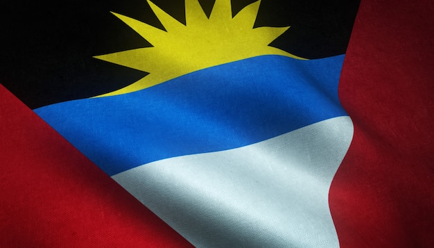 Foto da bandeira agitando de antígua e barbuda