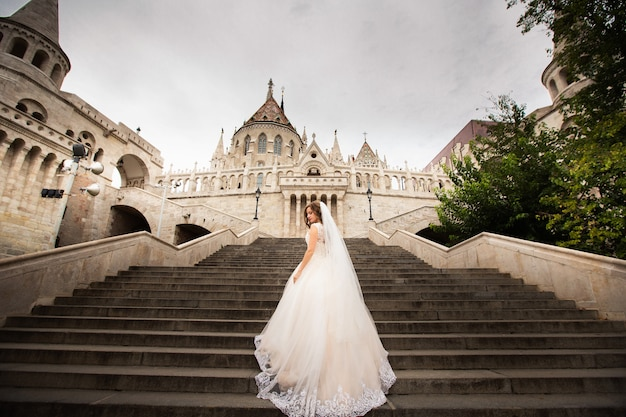 Foto da noiva nas escadas pelo pescador bastille em budapeste