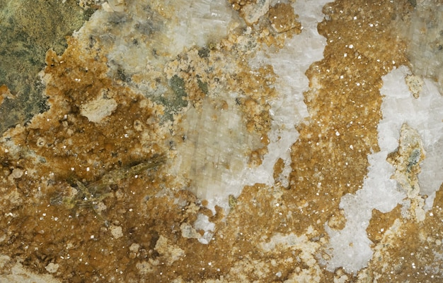 Foto da textura da superfície de gema de andradita mineral bruta com cristais brilhantes. y