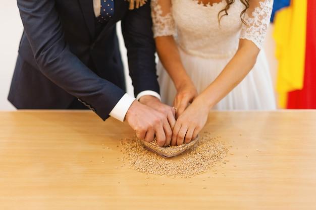 Foto das mãos dos noivos, procurando alianças em sementes
