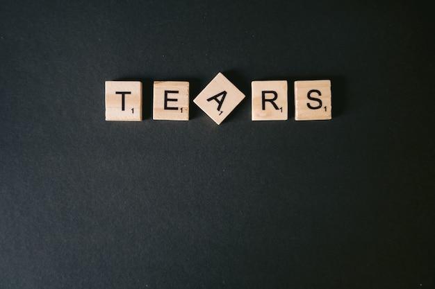 Foto de alto ângulo da mensagem lacrimal em uma parede preta
