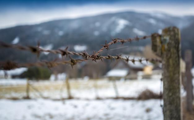 Foto de close de arame farpado em cerca de madeira em um campo coberto de neve