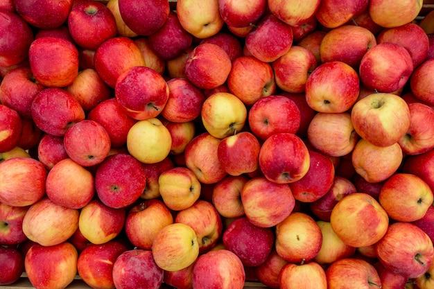 Foto de close de maçãs frescas vermelhas e amarelas